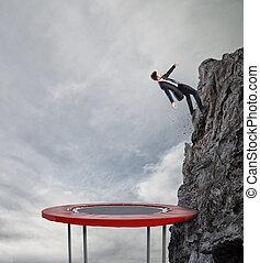 begriff, ziel, geschäftskarriere, flag., trampolin, erzielen, springende , geschäftsmann, leistung, schwierig