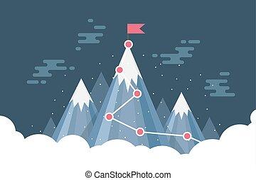 begriff, ziel, geschaeftswelt, infographic., erfolg, schnee, fahne, mountain., oberseite