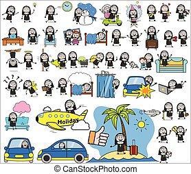 begriffe, vektor, dame, illustrationen, nonne, -, zeichen, satz, karikatur