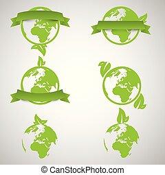begriffe, welt, ökologie, grün, vektor