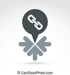 begrifflich, anschluss, ikone, mit, pfeile, freigestellt, weiß, backgro