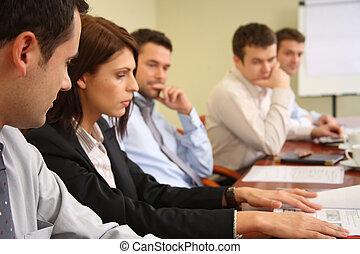 begrifflich, arbeit, fünf, businesspeople