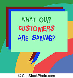 begrifflich, hand schreiben, ausstellung, was, unser, kunden, ar, saying., geschaeftswelt, foto, text, befriedigung, wasserwaage, besprechungen, klient, rückkopplung, stapel, von, sprechblase, verschieden, farbe, angehäuft, text, balloon.