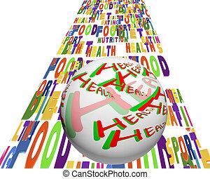 begriffliches abbild, von, a, kugelförmig, mit, der, wörter, -, gesundheit, bewegt, zu, der, hintergrund, mit, der, wörter, sport, ernährung, gesunder lebensstil, usw.