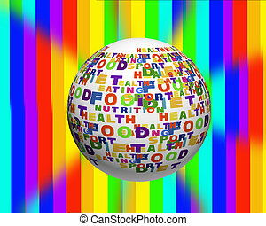 begriffliches abbild, von, etikett, wolke, enthalten, wörter, verwandt, zu, lebensmittel, sport, ernährung, und, gesunder lebensstil, in, der, form, von, der, kugelförmig