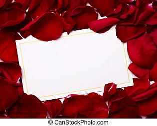begroetende kaart, aantekening, rozenblaadjes, viering,...
