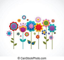 begroetende kaart, met, bloemen