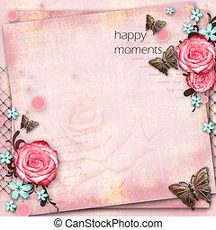 begroetende kaart, met, bloemen, vlinder, op, roze document,...