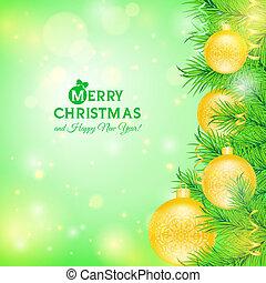begroetende kaart, met, kerstboom