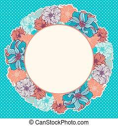 begroetende kaart, met, krans, van, hand-drawn, bloemen