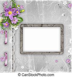 begroetende kaart, met, lentebloemen