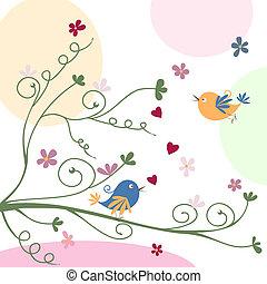 begroetende kaart, met, vogels