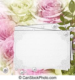 begroetende kaart, op, grunge, mooi, rozen, achtergrond, (, 1, van, set)