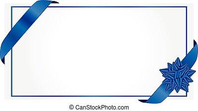 begroetende kaart, vector, met, blauw lint