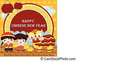 begroetende kaart, voor, chinees nieuw jaar