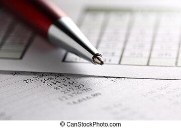 begroting, het werken, kalender, pen