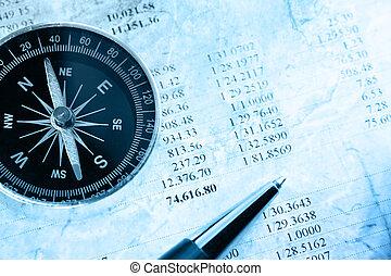 begroting, kompas, en, pen
