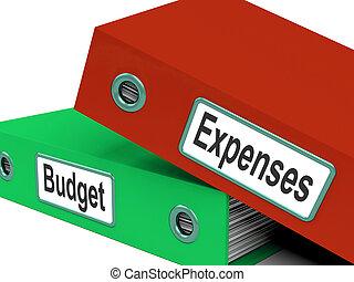 begroting, kosten, folders, betekenen, zakelijk, financiën,...