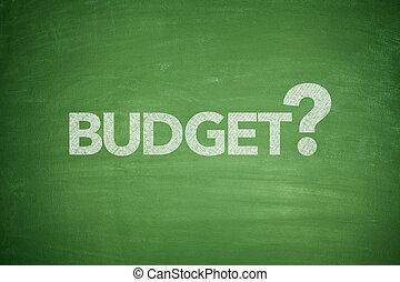 begroting, op, bord