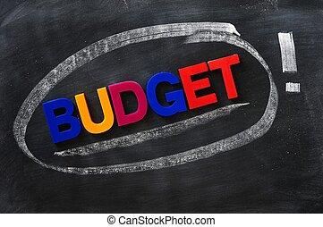 begroting, -, woord, gemaakt, van, kleurrijke, brieven