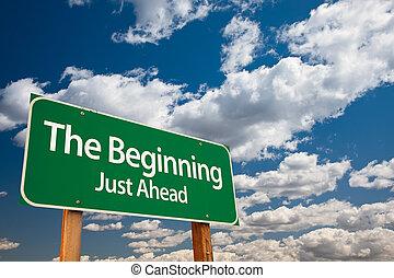 begyndelse, grønne, vej underskriv