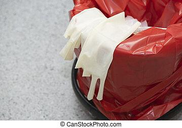 behälter, chirurgisch, gebraucht, handschuhe, muell