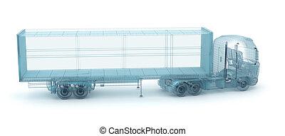 behälter, eigen, ladung, abbildung, draht, lastwagen, model., mein, design, 3d