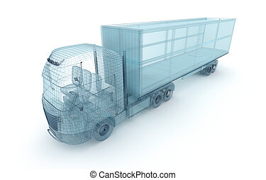 behälter, eigen, ladung, draht, lastwagen, model., design, mein