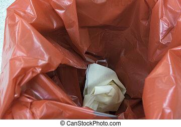 behälter, gebraucht, muell, innenseite, handschuhe, paar, rotes