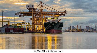 behållare, frakt, last skeppa, med, arbete, kran, bro, in,...