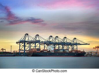 behållare, frakt, last skeppa
