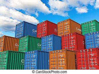 behållare, hamn, frakt, stackat