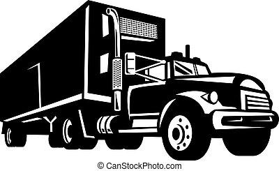 behållare, isolerat, lastbil, skåpbil, vit, släpvagn