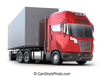 behållare, lastbil, isolerat, röd