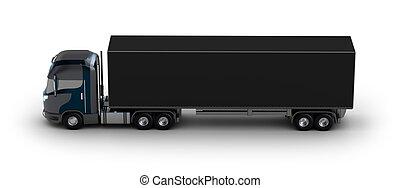 behållare, lastbil, isolerat