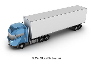 behållare, lastbil, nymodig, frakt