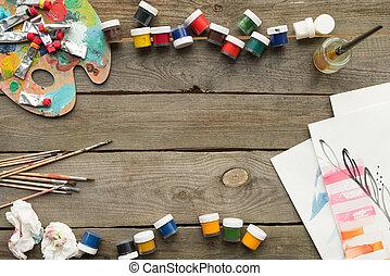 behållare, med, affisch, målar