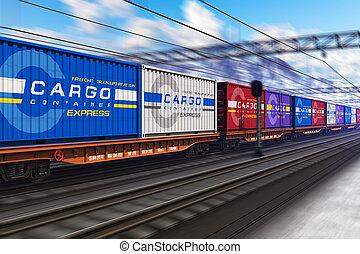 behållare, tåg, frakt, gods