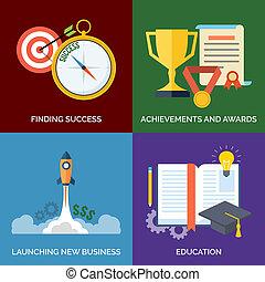 behaalde resultaten, plat, concept, zakelijk, succes, iconen, business., education., vastgesteld ontwerp, bevinding, nieuw, prijzen, lancering