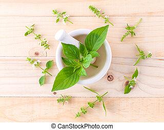 behaarde , basil(, citroen, basilicum, houten, ), blad, ...