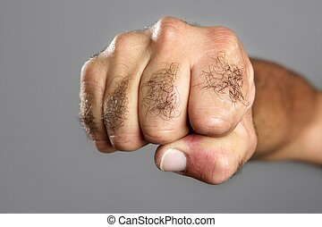 behaarde , grijs, op, closeup, fist, uitdrukking, man