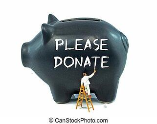 behage, give, meddelelse, på, piggy bank
