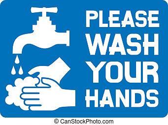 behage, vask, din, hænder, tegn