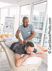 behaglig, vuxen, man, ha en massage