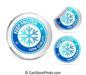 behalten, gefrorenes, etikett