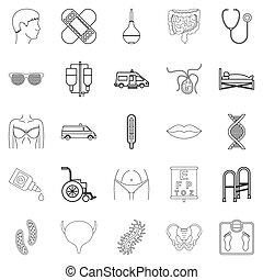 behandeling, iconen, set, schets, stijl