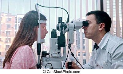 behandeling, machine, van een vrouw, venster, kabinet,...