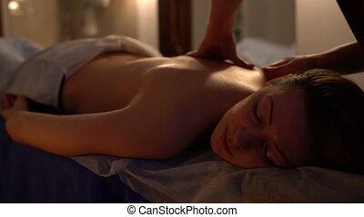 behandeling, van, back, op, spa, salon