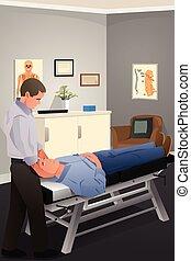 behandlande, kiropraktor, manlig, tålmodig