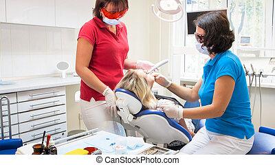 Dental, uv, behandling, lampa. Reparera, tålmodig, ämbete
